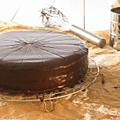 Sacher torte on cake rack