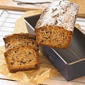 Vanilla cake with icing sugar on baking dish