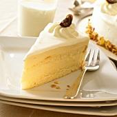 Piece of zabaglione cake