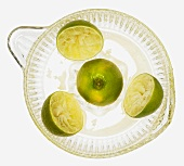 Limes on lemon squeezer on green wooden background