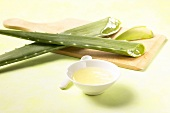 Aloe vera, angeschnitten, und Aloe-vera-Saft