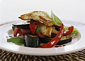 Ratatouille with fried Halloumi cheese
