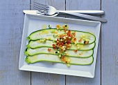 Zucchini Carpaccio with Vegetable Vinaigrette Sauce