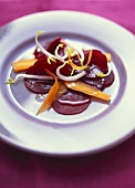 Beetroot salad with carrots and sprouts