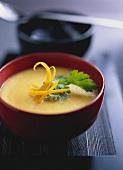 Celeriac and saffron soup with parsley pesto