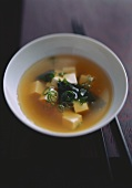 Miso soup with seaweed and tofu