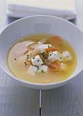 Miso soup with tofu, radish and carrots