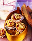 Cranberry muffins made from kamut flour with flaked almonds