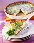 Herb quiche with soft cheese