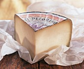 A piece of pecorino with packing