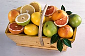 Various types of grapefruit in a trug