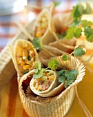 Tex-Mex roll with avocado in basket