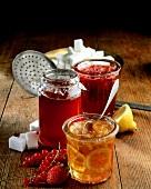 Orange marmalade, redcurrant jelly, strawberry jam