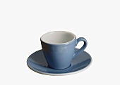 A pale-blue coffee cup with saucer