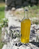 A bottle of new olive oil in the open air