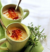 Cream of carrot soup with air-dried tomatoes