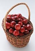 A Wicker Basket Full of Cranberries