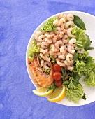 Shrimp Salad on a White Plate
