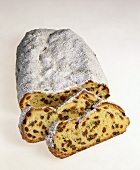 Christmas stollen whole and in slices