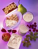 Muesli, yoghurt, cream cheese and fruit