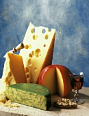 Assorted Types of Cheese with Glass of Wine