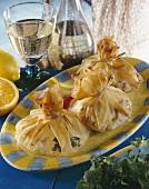 Filo pastry parcels filled with shrimps