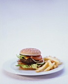 Hamburger with chips on plate
