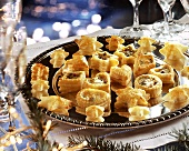 Savoury filled puff pastries for Christmas or New Year's Eve