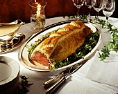 Roast beef in puff pastry for Christmas