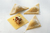 Home-made ravioli with filling