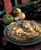 Apple and lemon tart with elderflower fritters