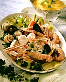Fish platter with seafood and vegetables