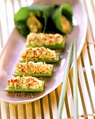 Celery stuffed with pepper and leek
