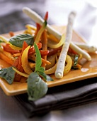 Roasted vegetables with sesame and lime butter