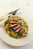 Duck breast with potatoes on cider sauce