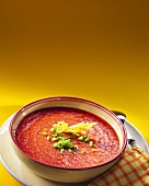 Tomato soup with diced green pepper
