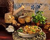 Rigatoni ai quattro formaggi (Pasta with 4 cheese sauce)