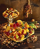 Candied fruits, dried fruits and nuts