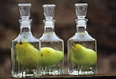 Pear schnapps with whole pear in the bottle, Alsace