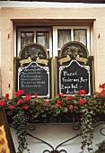 Menu boards at a wine restaurant (Mosel)
