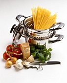 Ingredients for pasta sauces & spaghetti in pan