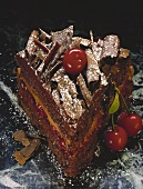 A piece of chocolate and cherry gateau with chocolate curls