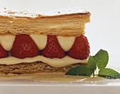 Puff pastry slice with vanilla cream and strawberries