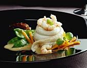 Sole rolls with morel cream sauce