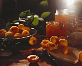 Fresh apricots and apricot jam