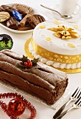 White cake and Christmas roll