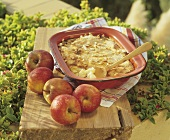 Apple and semolina pudding in dish