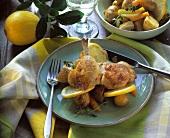 Chicken leg with lemon potatoes