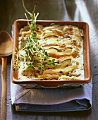 Potato and aubergine lasagne with herbs