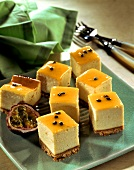 Passion fruit slices with ricotta
